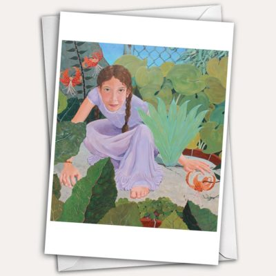 fierce girl, fierce little girl, playing girl, greeting card with child, greeting card with girl, greeting card with girl with braids, greeting card girl playing in empty lot, little girl playing hide and seek, little girl in 1950's dress, girl with tiger lilies,