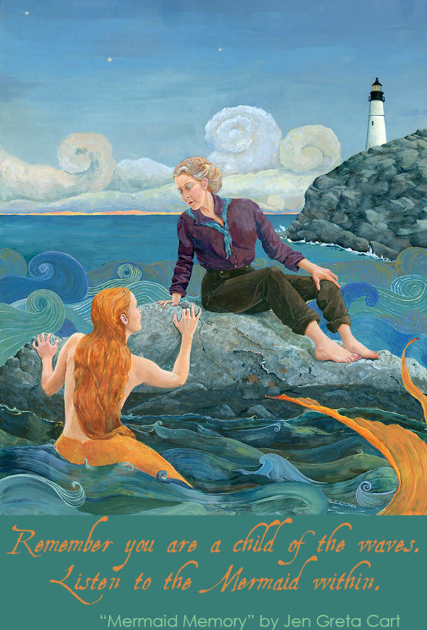 Maine Mermaid, woman and mermaid, sister mermaid, mermaid soul, magical maine, mermaid on Maine Coast, Feminist mermaid painting, listen to your inner mermaid, flash your fins, Remember you are a child of the waves, listen to the mermaid within