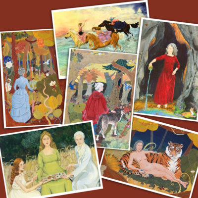 Feminist fantasy greeting cards set showing white haired women as Goddesses, temptresses, equestrienneds and wise women