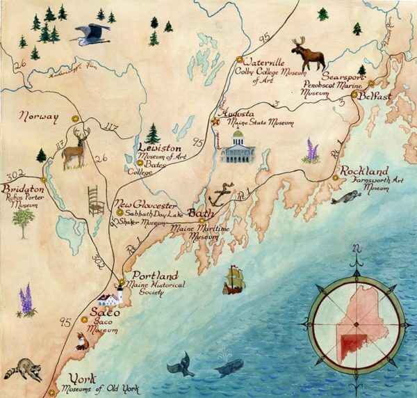 Illustrated Maine Map of Maine Folk Art Trail
