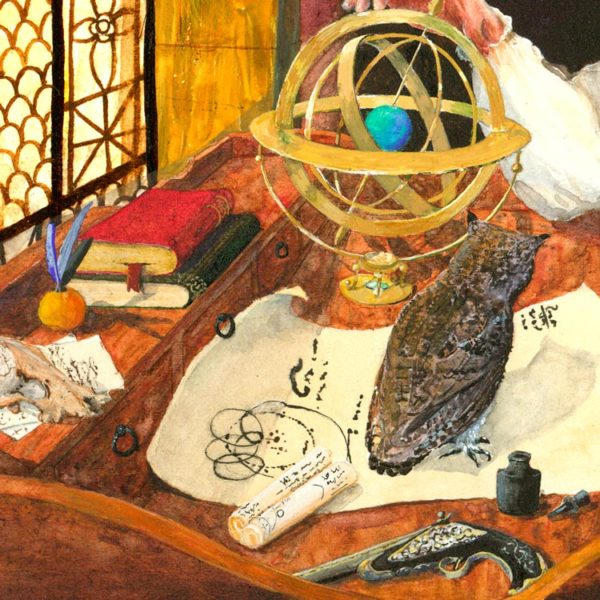 Wizard painting Detail of owl and armillary