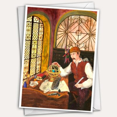 Late Renaissance Wizard Greeting Card with fairy, pet rat and owl by Jen Greta Cart