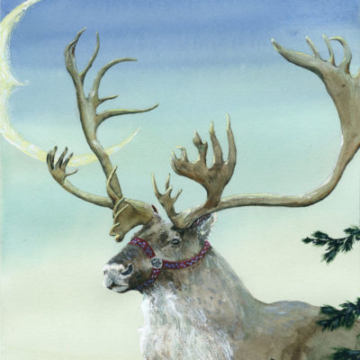 A majestic caribou with red halter painted in front of winter sky with Crescent moon Jen Greta Cart