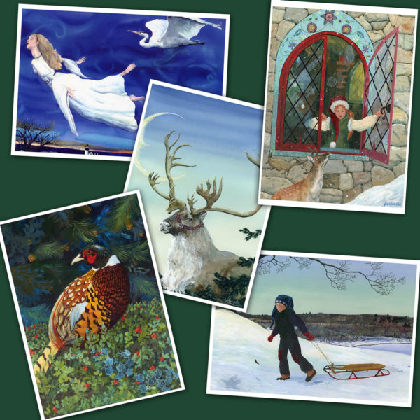 Collection of Christmas Greeting cards. Jen Greta Cart paintings of a pheasant in evergreens, a wise old Caribout, a boy pulling an old fashioned sled, a lady elf and reindeer at a castle window, and an angelic maiden in a white dress flying with a white heron.