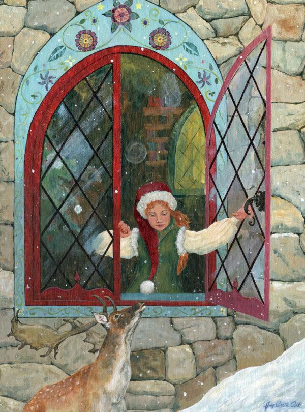 A girl Christmas elf and a fallow deer talk through an open mullioned castle window.