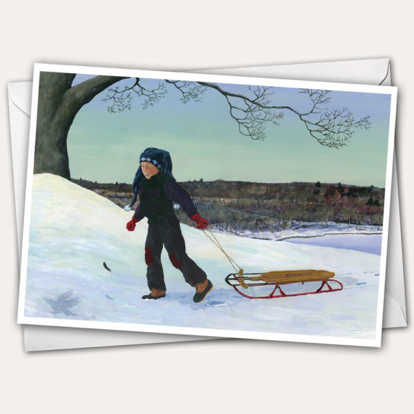 Holiday Greeting Card with boy sledding at Mt. Tom in Gardiner, Maine