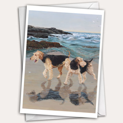 Greeting card with dogs running on Maine beach.
