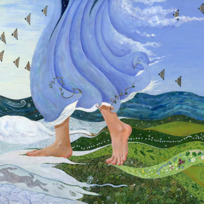 The Spring Maiden walks across the land, chasing away snow and ice with blue skies and flowers