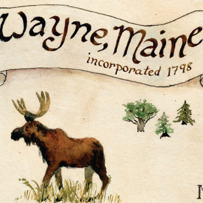 Watercolor Moose and Wayne Maine Scroll from Town Map