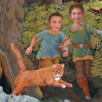 Two Princes and their cat run on a woodland path