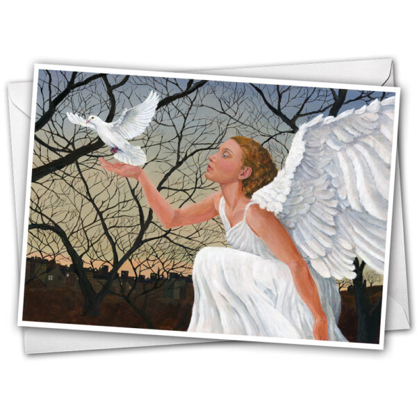 Peace Angel Greeting Card by Jen Greta Cart