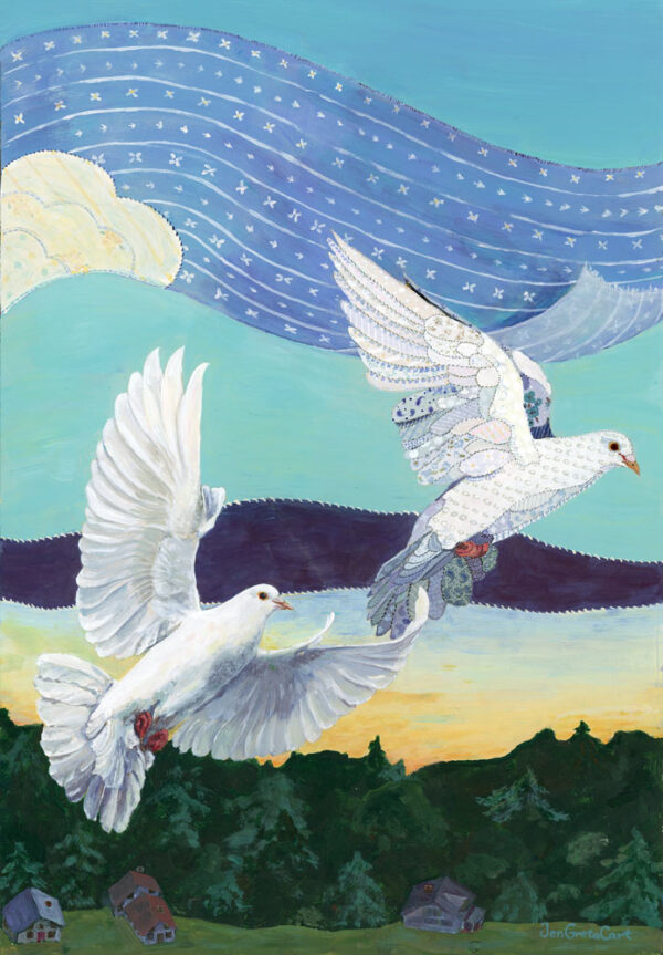 Two Doves, one real, one patchwork