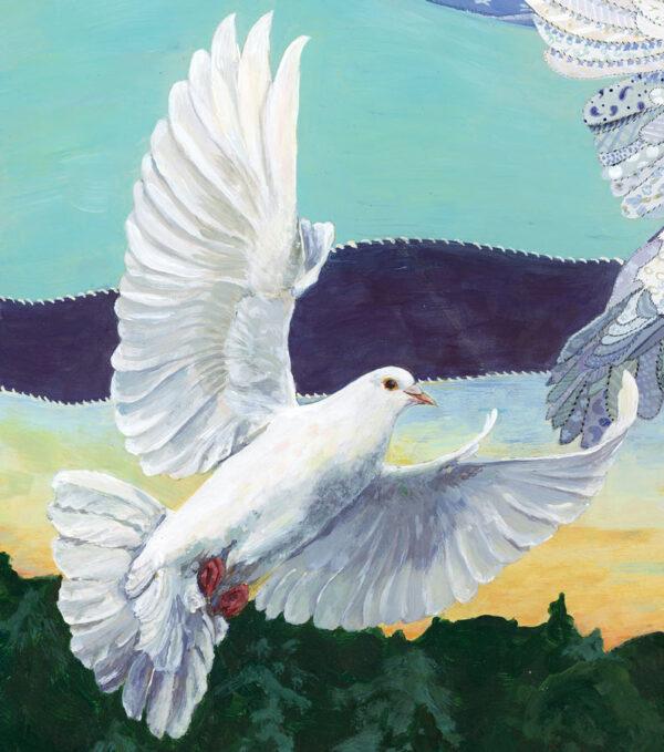 White dove flying detail from Jen Greta Cart Painting Doves in a Handmade Sky