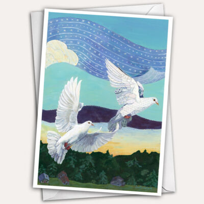 White doves greeting card by Jen Greta Cart
