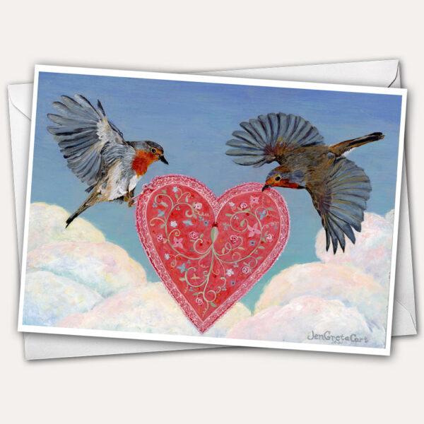 Pretty Romantic Valentine Card with birds