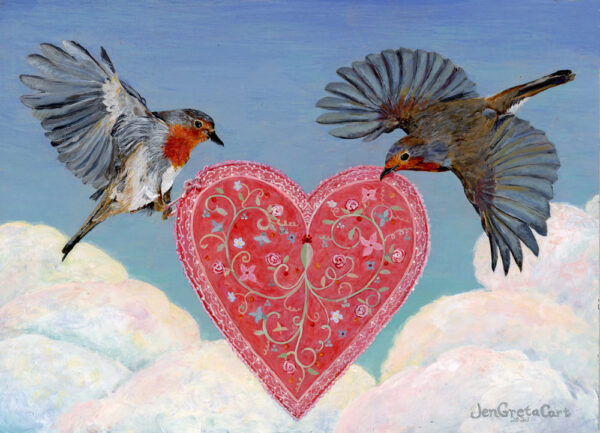 English Robins with Heart by Jen Greta Cart