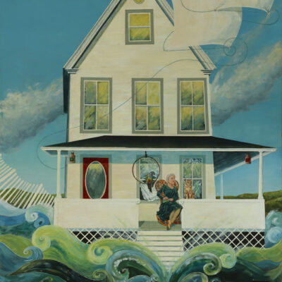 Print of Painting of house magically sailing out to sea